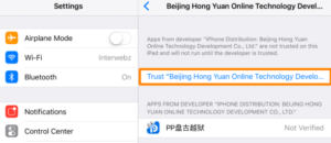 Beijing enterprise developer certificate trust blue button